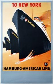 Vintage Travel Poster To New York Hamburg American Line